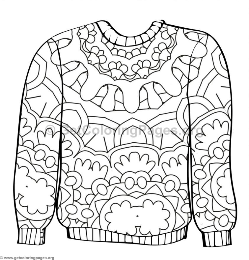 Ugly Sweater Coloring Pages #1