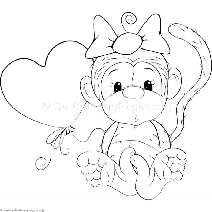 Cute Baby Monkey Coloring Pages