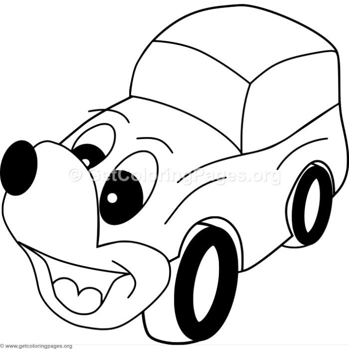 Cute Dog Face Car Coloring Pages