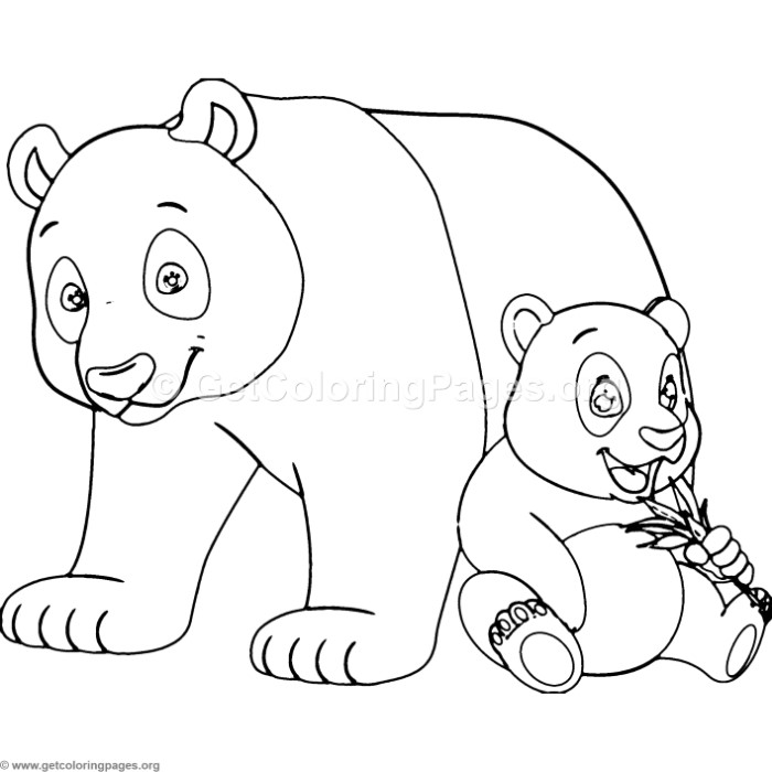 Mother Panda and Baby Coloring Pages