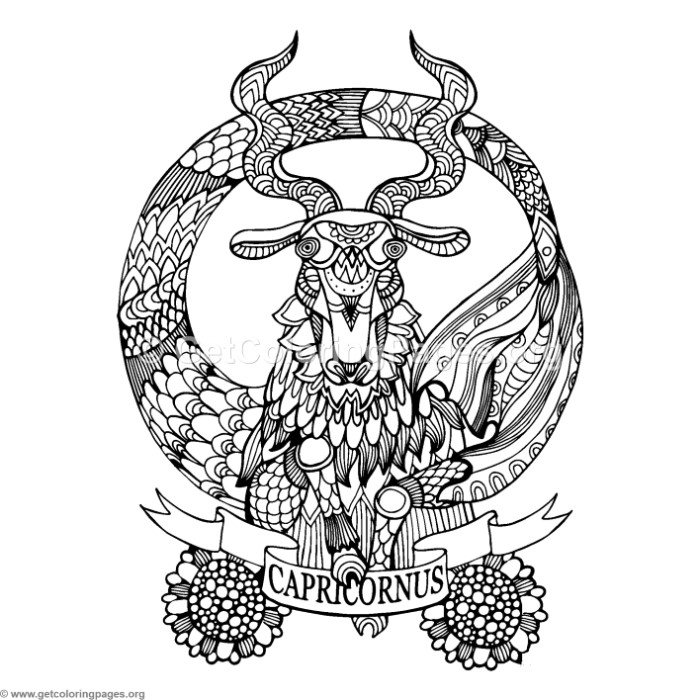 Capricorn Horoscope Sign Coloring Pages