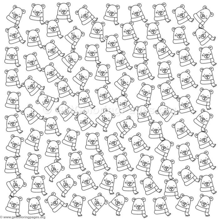 Cute Polar Bear Pattern Coloring Pages