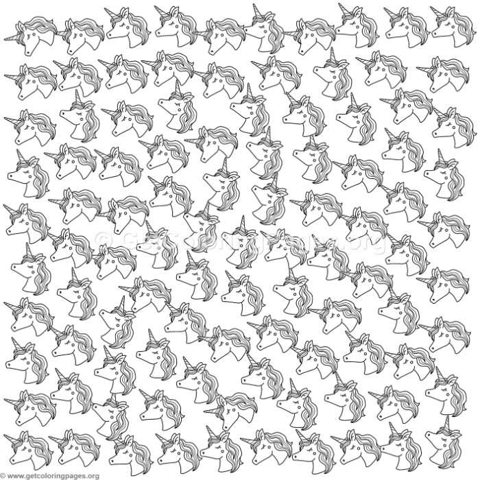 Cute Unicorn Pattern Coloring Pages