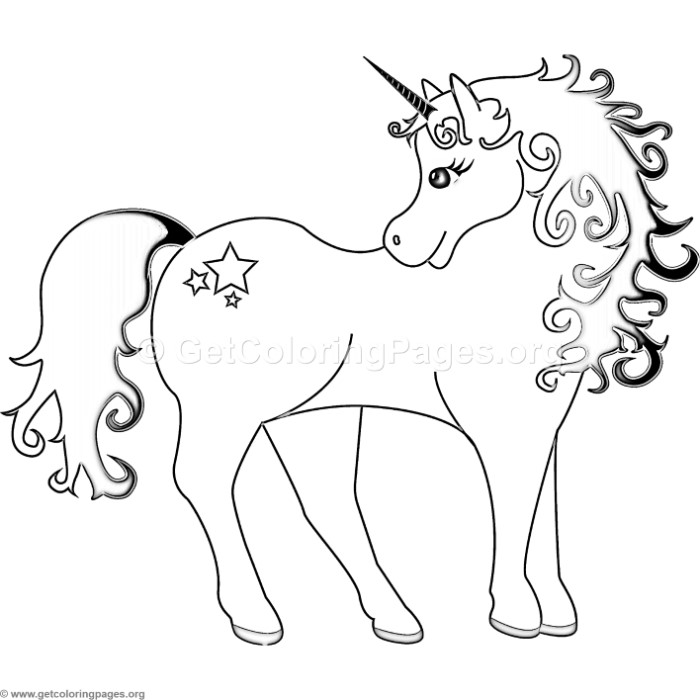 Unicorn with Stars Coloring Pages