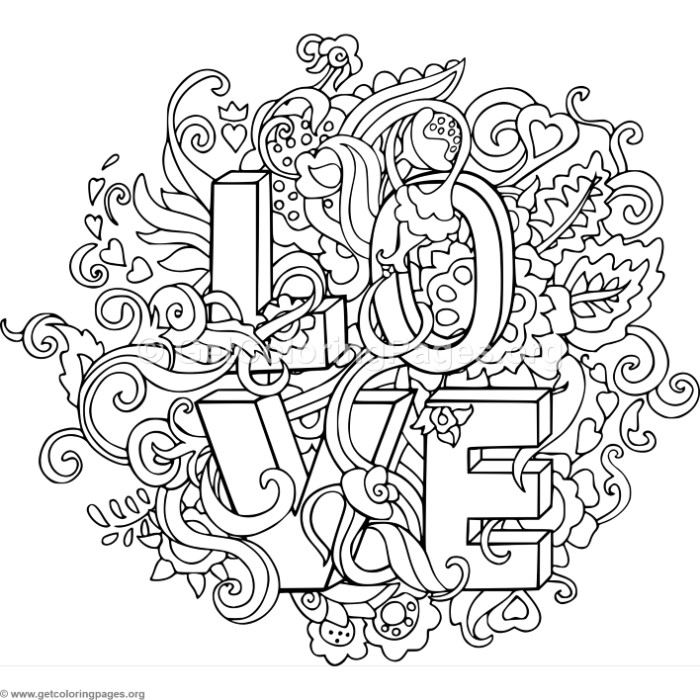 Love Zentangle Art 4 Coloring Pages
