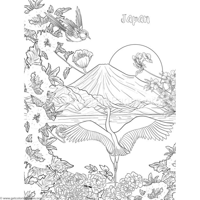 Japanese Painting Fuji Mountain Birds and Flowers Coloring