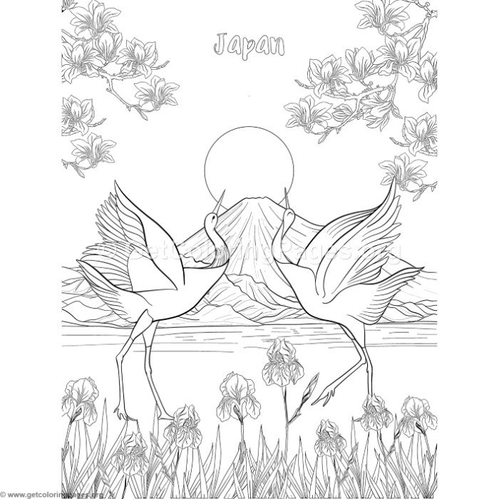 Japanese Painting Fuji Mountain and Moon Coloring Pages