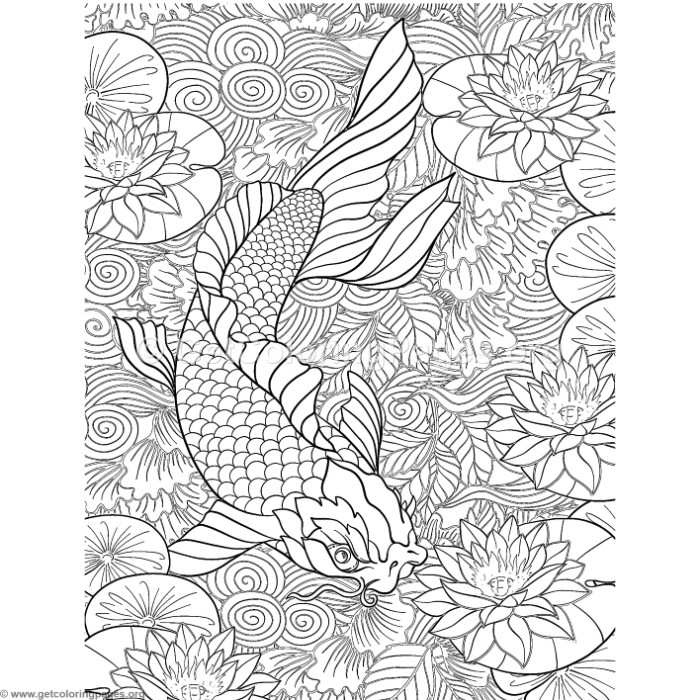 Japanese Painting Koi Fish Coloring Pages