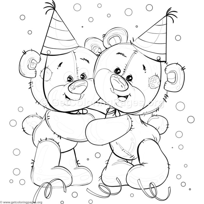 Teddy Bear Birthday Party Coloring Pages
