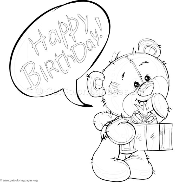 Teddy Bear and Birthday Gift Coloring Pages