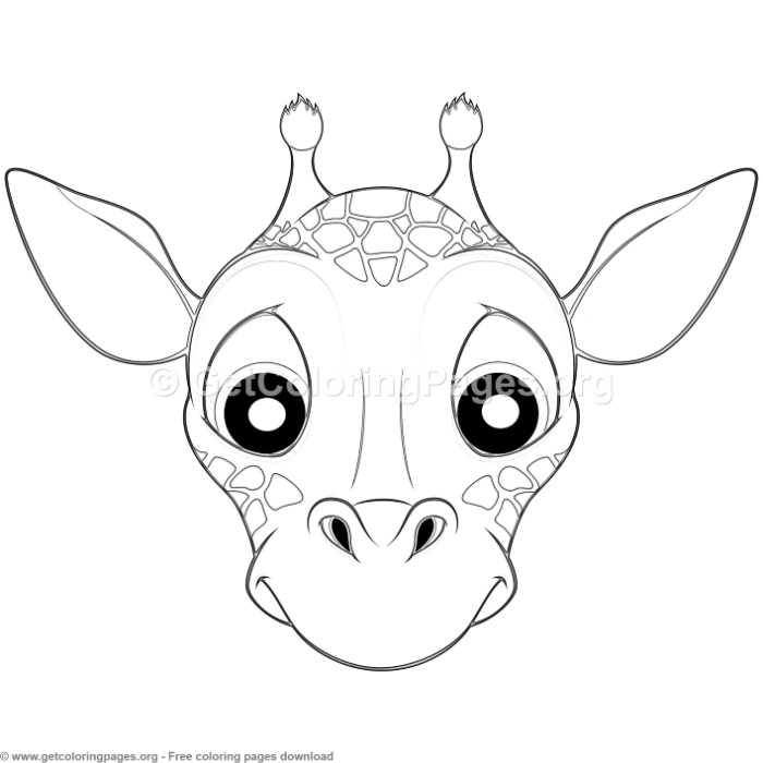 Giraffe Animal Face Mask Coloring Pages