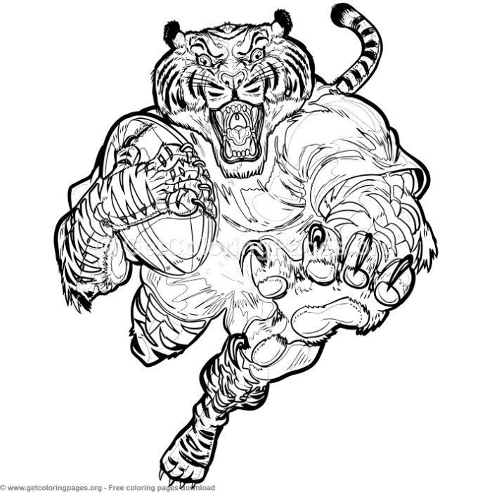 Rugby Tiger Coloring Pages