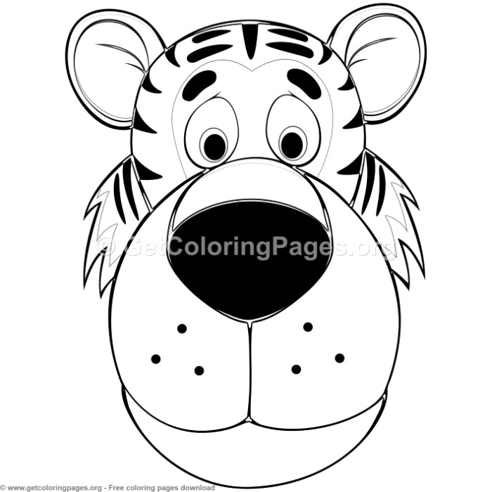 Tiger Animal Face Mask Coloring Pages