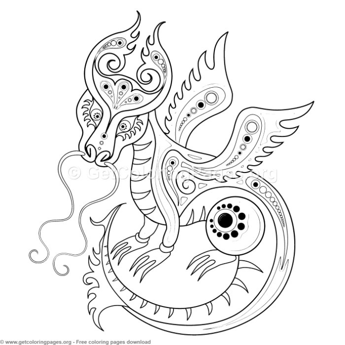 Chinese Horoscope Year of the Dragon Coloring Pages