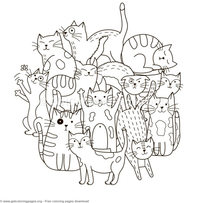 Circle Shape Cats Pattern Coloring Pages