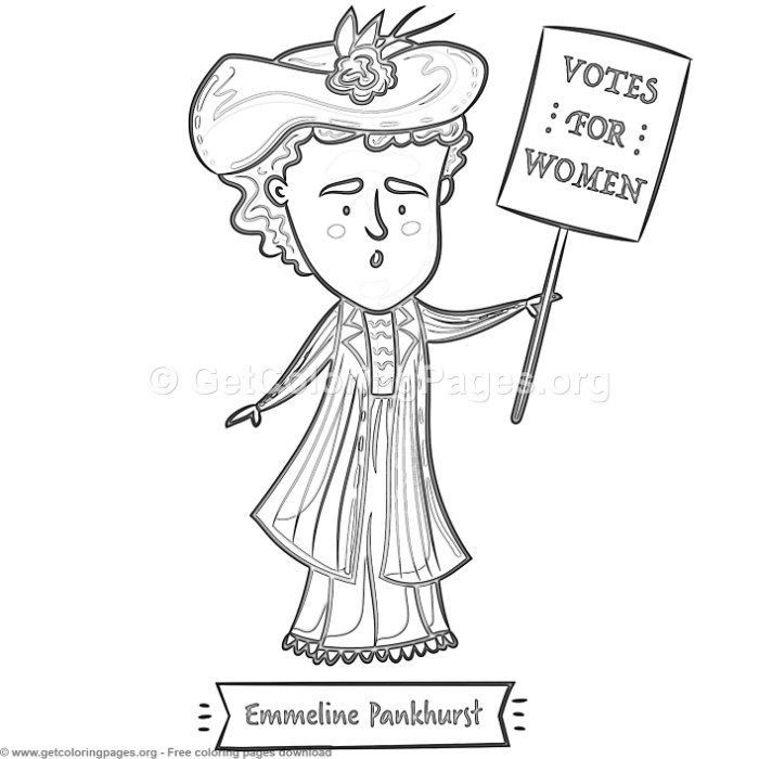Women in History Emmeline Pankhurst Coloring Pages