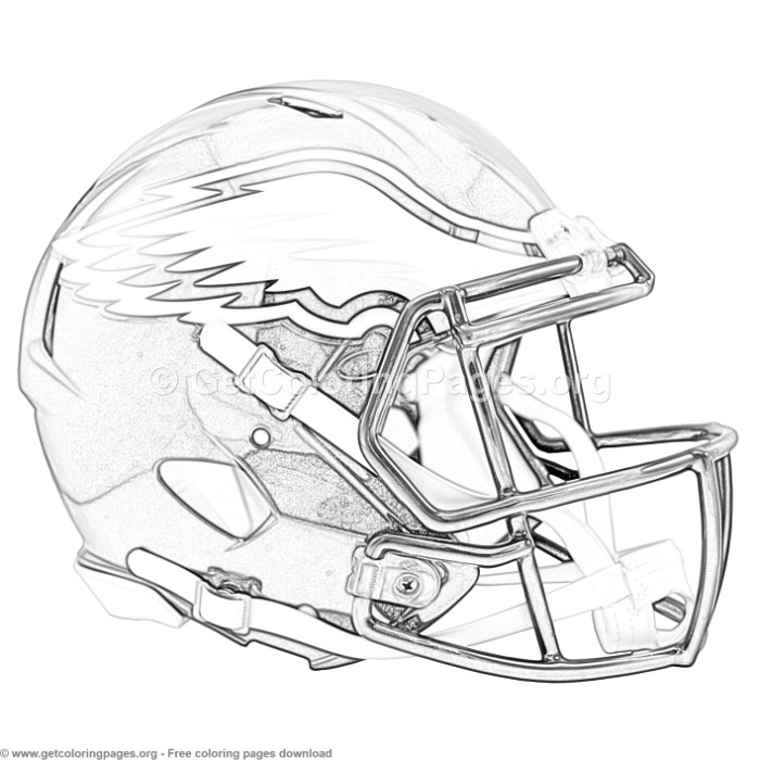 Grayscale Philadelphia Eagles Football Helmet Coloring