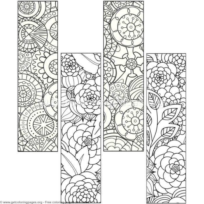 9 Floral Bookmark Coloring Pages