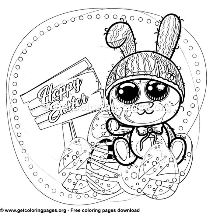 Easter Teddy Bunny Coloring Pages