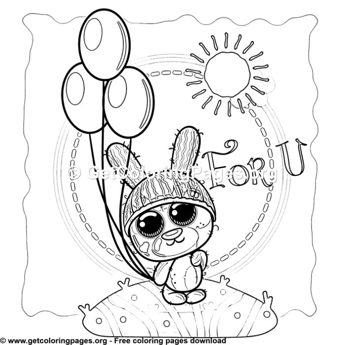 For U Teddy Bear Bunny Coloring Pages