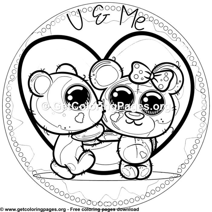 U and Me Teddy Bears Coloring Pages