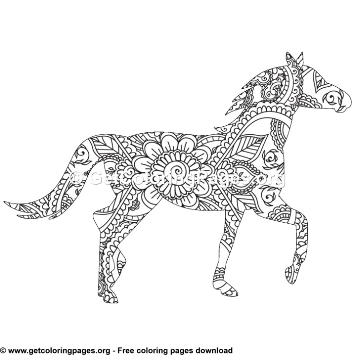 Easy 11 Zentangle Horse Pattern Coloring Pages