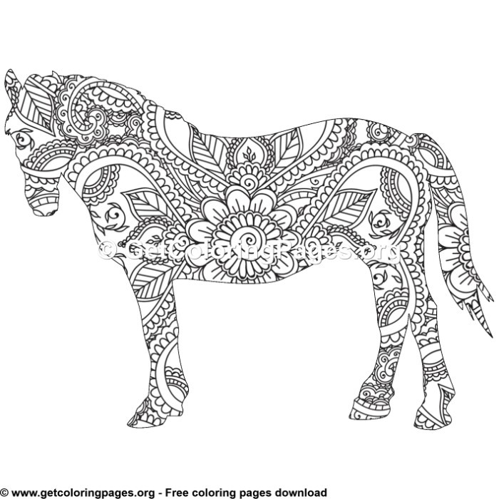 Easy 3 Zentangle Horse Pattern Coloring Pages