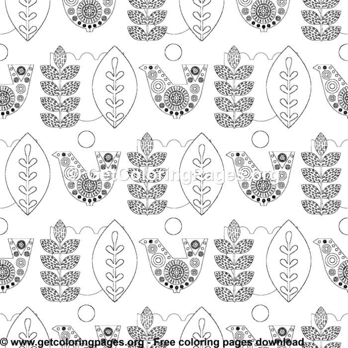 Nordic Animals Folk Pattern 8 Coloring Pages