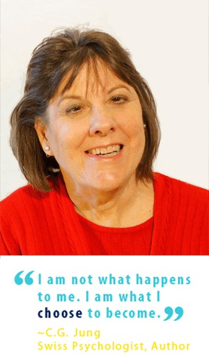 "Photo of Darian Slayton Fleming, LCSW, CRC, above quote: ""I am not what happens to me. I am what I choose to become."" C.G. Jung, Swiss Psychologist, Author"