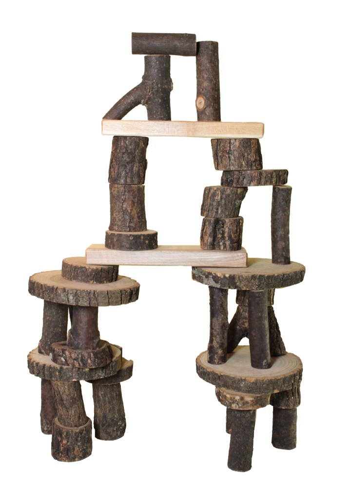 Tree blocks unit blocks, are a sustainable, eco friendly toy made of natural wood.