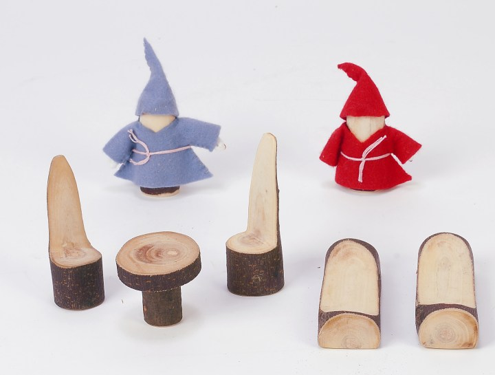 Tree blocks dolls and assorted furniture are a sustainable, eco friendly toy made of natural wood.