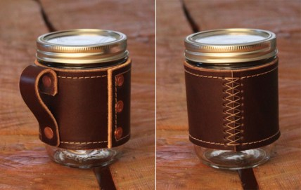Holdster Leather Canning Jar Travel Mug