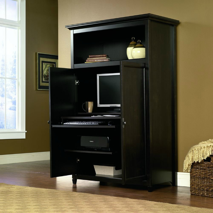 Space-Saving Computer Armoire with Concealed Work Desk ...