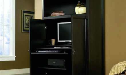 Space-Saving Computer Armoire with Concealed Work Desk
