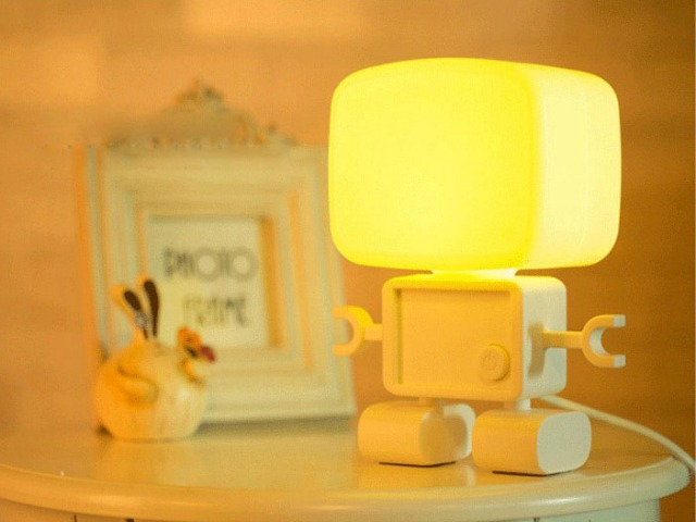 Robot LED Night Light is Light and Sound Activated