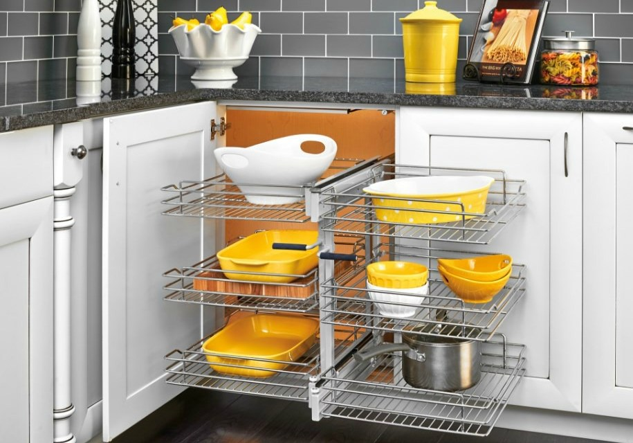 Rev-A-Shelf Basket Organizer Maximizes Blind Corner Cabinet Space