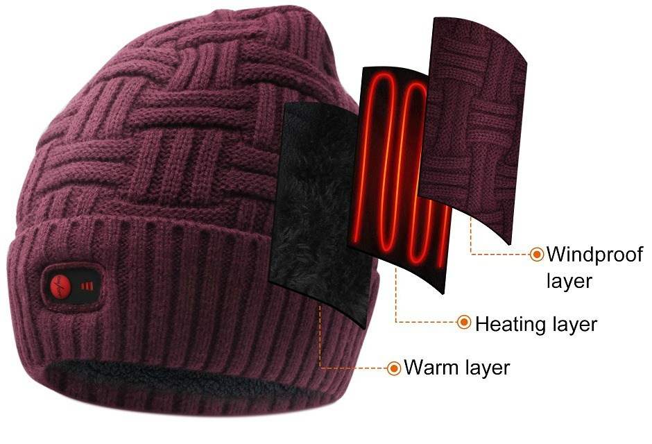 Electric Heated Beanie with Rechargeable Battery