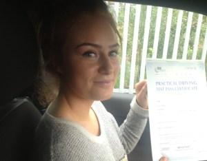 Lauren passed her driving test in Bury
