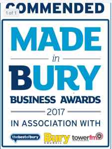Made in Bury Business award logo - presented to Get Driving Today in 2017