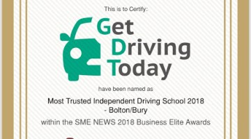 Certificate showing Get Driving Today winning the Most Trusted Independent Driving School in Bolton and Bury