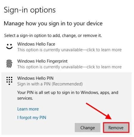 Отключите параметр входа в Windows Hello с помощью PIN-кода в настройках Windows