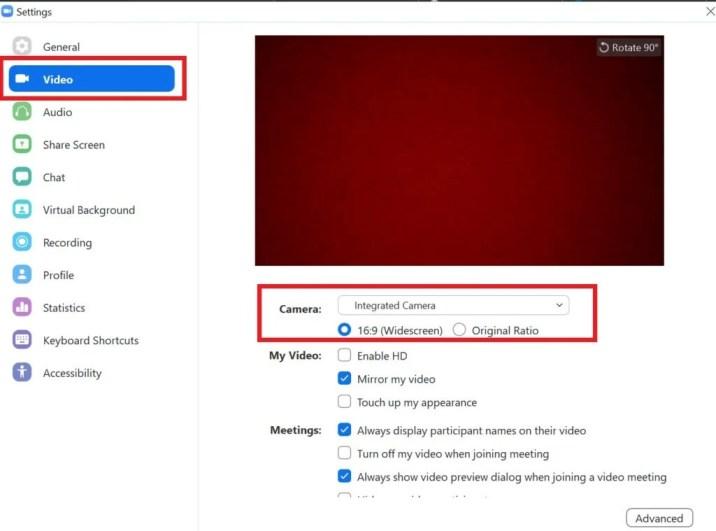 если EpocCam не работает, измените камеру по умолчанию на EpocCam в приложениях для конференц-связи