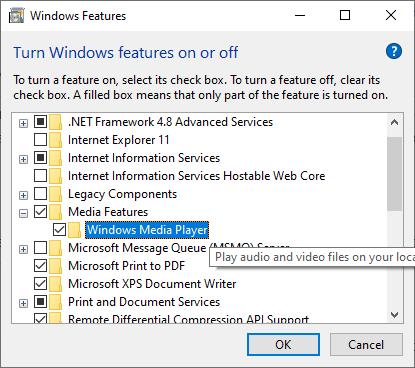 Отключить проигрыватель Windows Media в функциях Windows