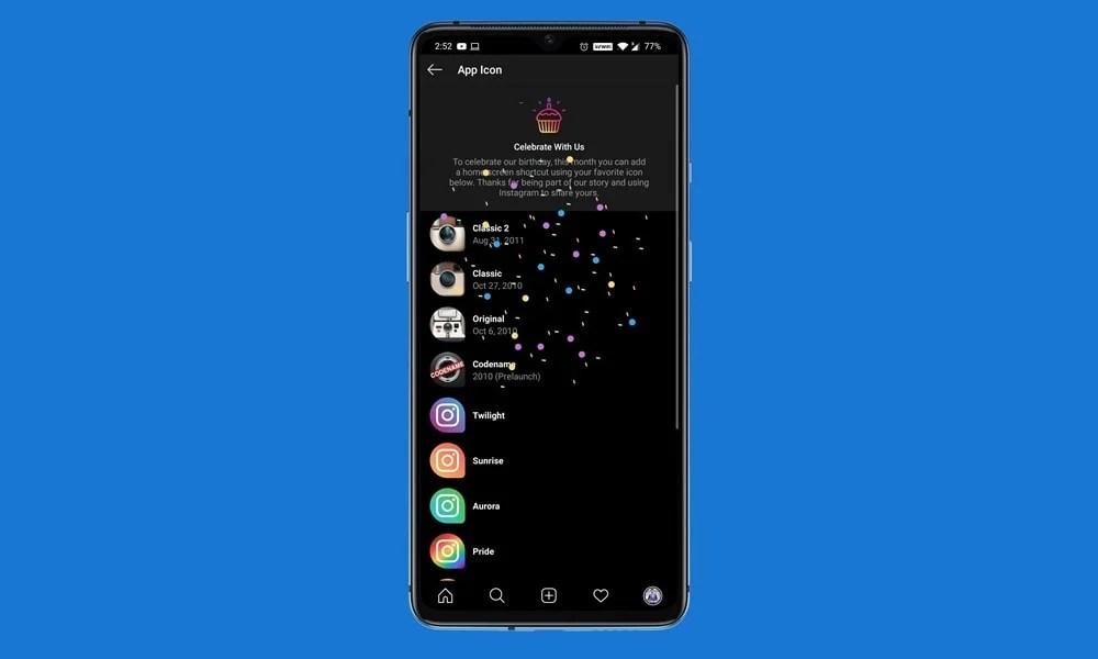 Изменить значок приложения Instagram