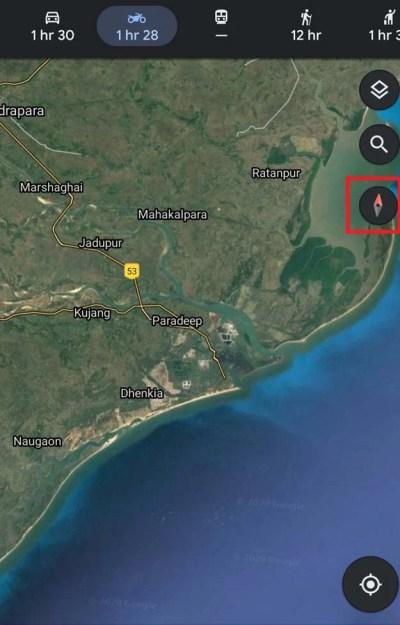 Направление движения Google Maps