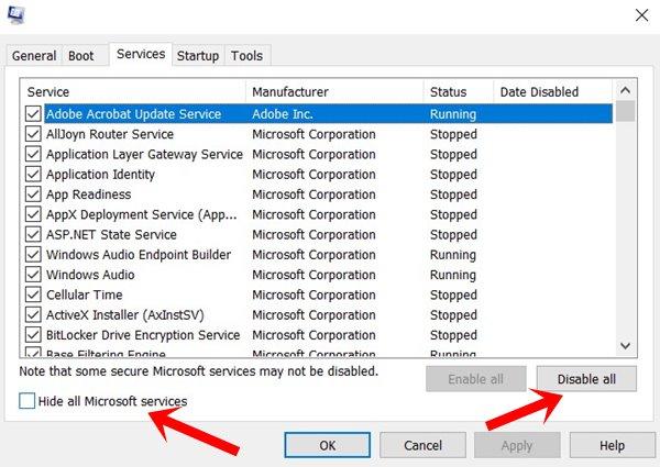 службы сна Windows 10