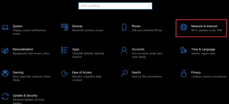 Параметры сети и Интернета Windows