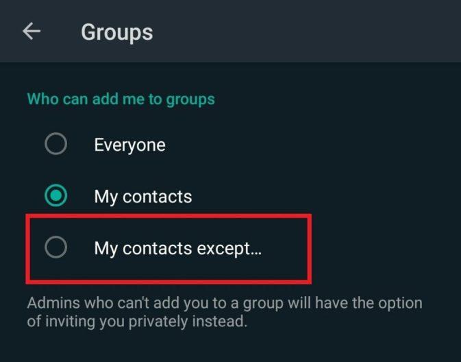 добавить в группу WhatsApp Мои контакты кроме