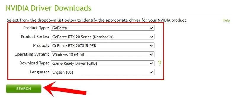 поиск драйверов RTX 2070 Super