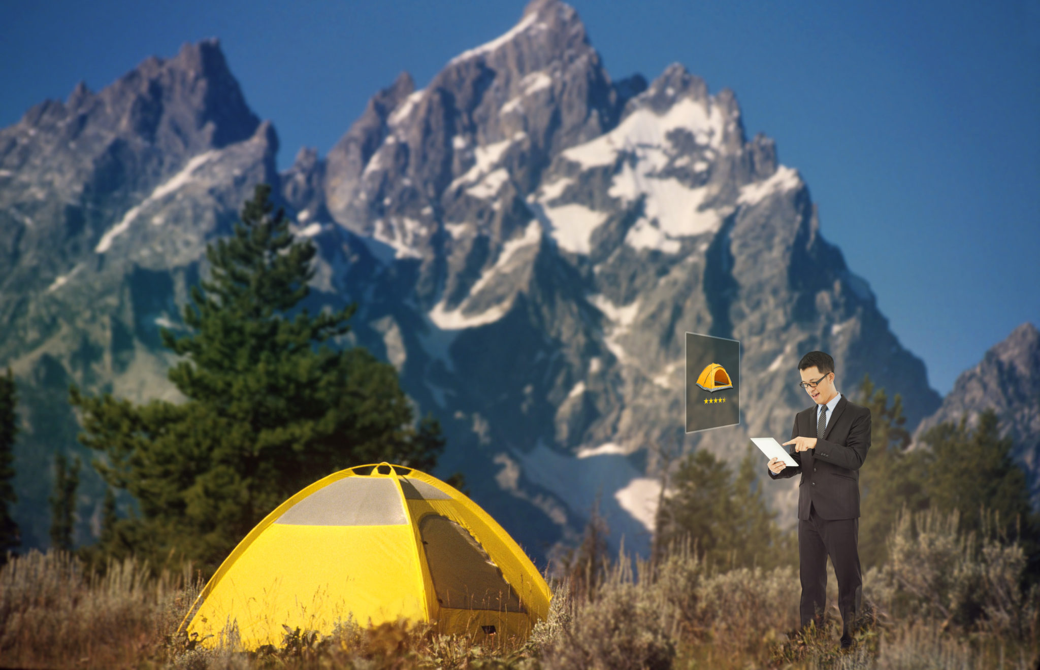 Buying tent in virtual reality